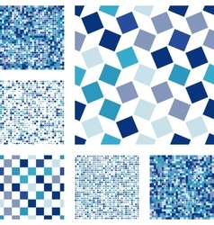 Set of abstract seamless patterns with squares vector