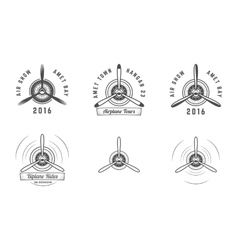 set vintage airplane propeller emblems biplane vector image