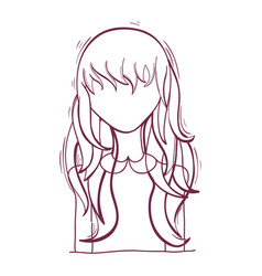 Silhouette anime woman with hairstyle and cloth vector