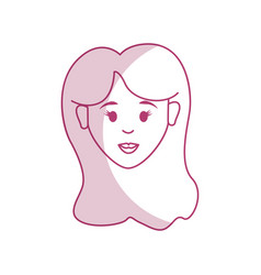silhouette woman head and face with hairstyle vector image