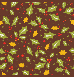 traditional christmas holly leaves vector image