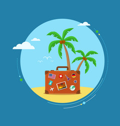 Travel suitcase with palmtrees vector
