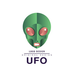 ufo logo original design badge with alien head vector image