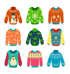 ugly sweater knitted jumpers with christmas vector image