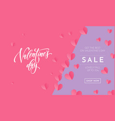 valentines day sale poster or banner valentine vector image