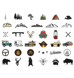 vintage hand drawn adventure symbols hiking vector image