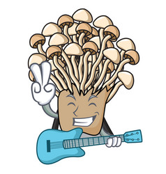 With guitar enoki mushroom mascot cartoon vector