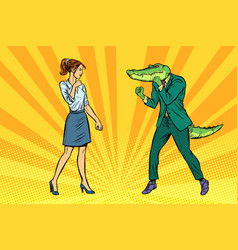 Woman businesswoman boxing fights with crocodile vector