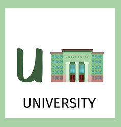 alphabet card with university building vector image
