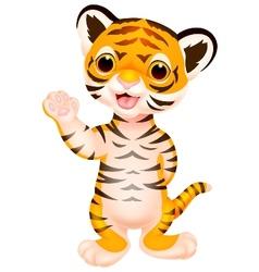 Cute baby tiger cartoon waving vector image vector image