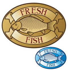 fresh fish label vector image