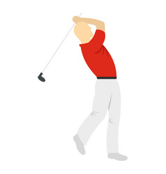 Golf player in a red shirt icon isolated vector