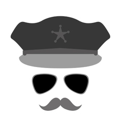 grayscale hat glasses and mustache police vector image