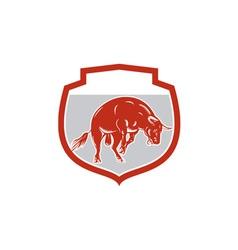 Raging Bull Jumping Attacking Charging Retro vector image vector image