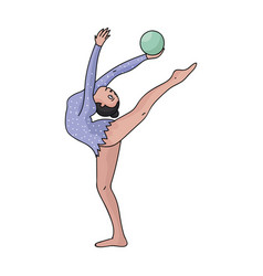 Skinny girl with ball in hand dancing sports dance vector