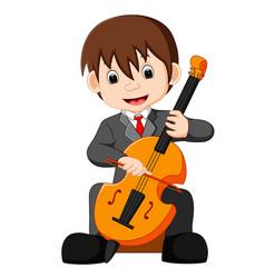 boy playing cello cartoon vector image vector image
