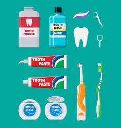 dental cleaning tools oral care hygiene products vector image vector image