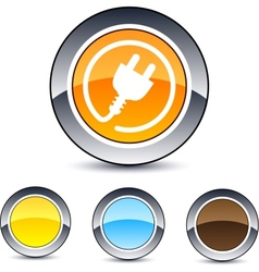 power plug round button vector image