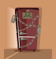 sad refrigerator character locked with chain vector image