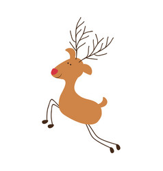silhouette caricature color of reindeer with red vector image