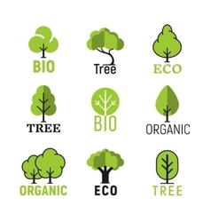 tree organic eco bio logo set vector image vector image