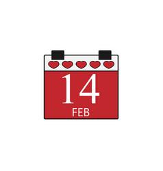 valentines calendar flat icon valentines day vector image