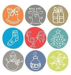 2017 christmas icons with rooster vector image