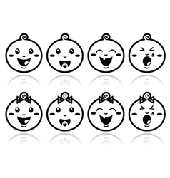 Baby boy baby girl face - crying with soother s vector