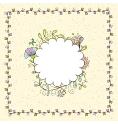 frame with a simple floral pattern vector image vector image