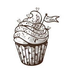 hand drawn of cupcake vector image vector image