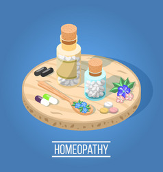 homeopathy isometric composition vector image