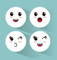 kawaii emoji faces collection vector image vector image