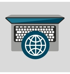 Person working laptop globe social media graphic vector