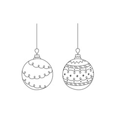 set of hand drawn christmas ball toy vector image vector image