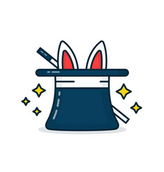 wizards hat with a rabbit and a magic wand vector image