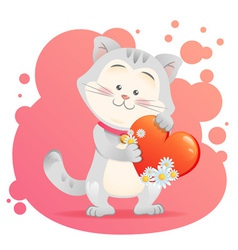 Cute toy Cat pet isolated holding heart vector image vector image
