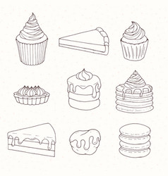 hand drawn pastry set with cakes pies tarts vector image vector image
