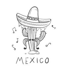 mexico sketch cactus in sombrero - hand drawn vector image