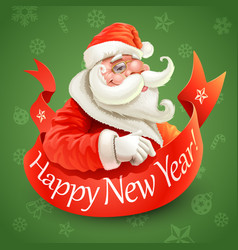 new year card with santa claus on green background vector image vector image