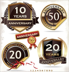 Set of golden anniversary labels vector image