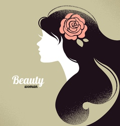Vintage beautiful girl silhouette vector image