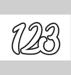 123 black and white number logo icon design vector