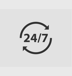 247 icon 24 hour service clock vector image