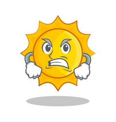 Angry cute sun character cartoon vector