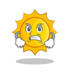 Angry cute sun character cartoon vector