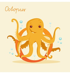 Animal alphabet with octopus vector image