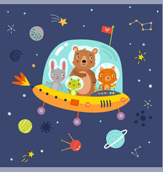 animals in space vector image