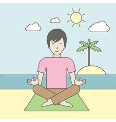 Asian man meditating vector