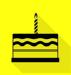 birthday cake sign black icon with flat style vector image