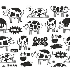 Black and white cow skin seamless patten with vector
